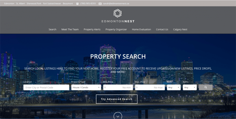 Edmonton Nest - Real Estate Website Design - Loop Marketing